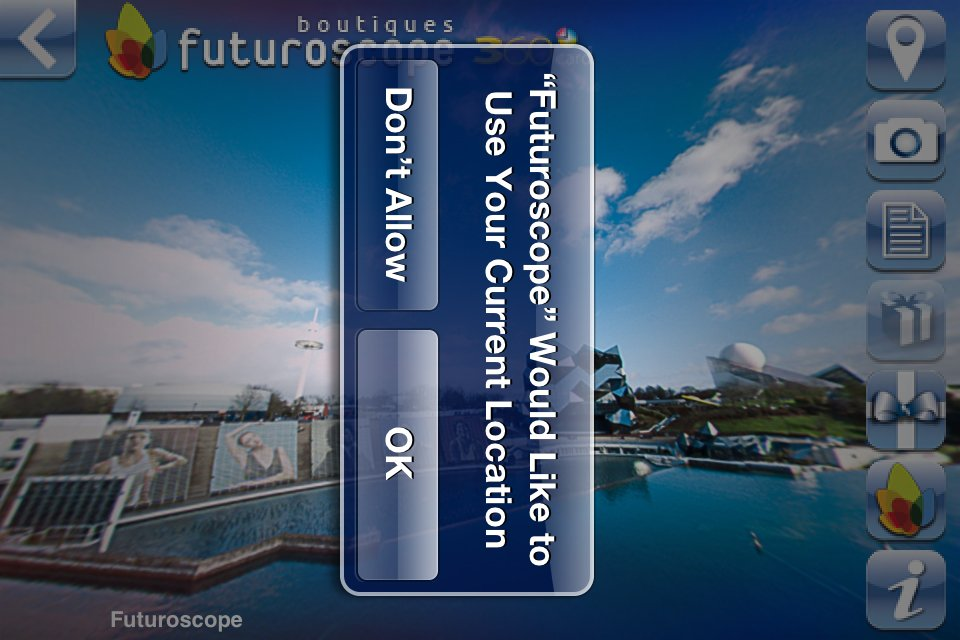Application iPhone Futuroscope 360 - Géolocalisation