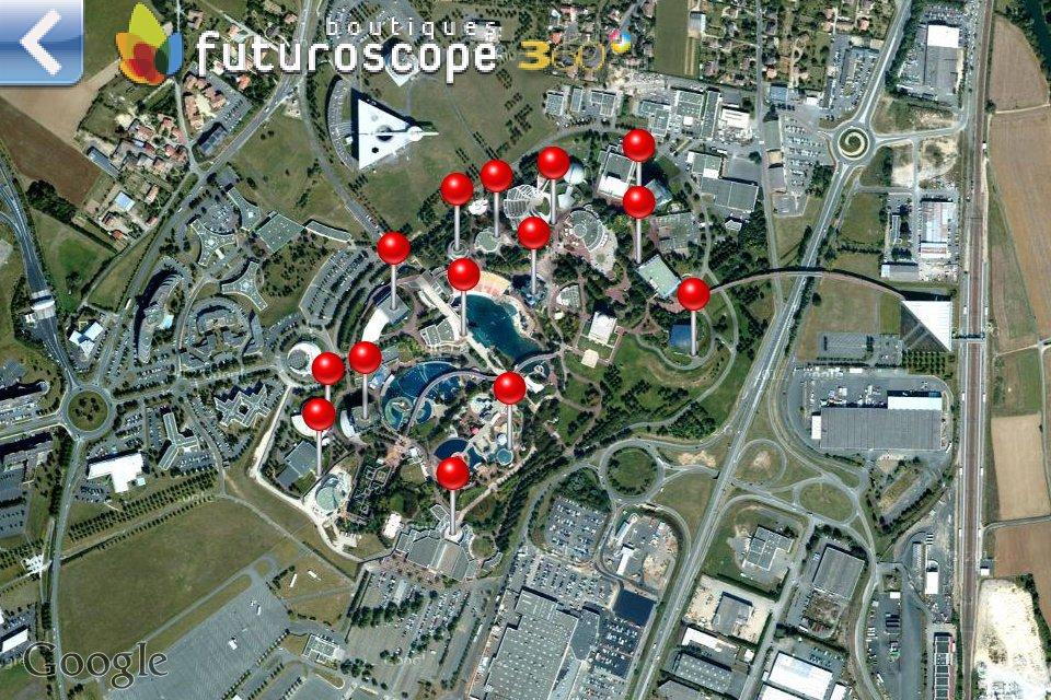 Application iPhone Futuroscope 360 - Plan du parc via Google