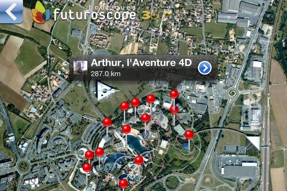 Application iPhone Futuroscope 360 - Plan du parc via Google - Epingle Arthur