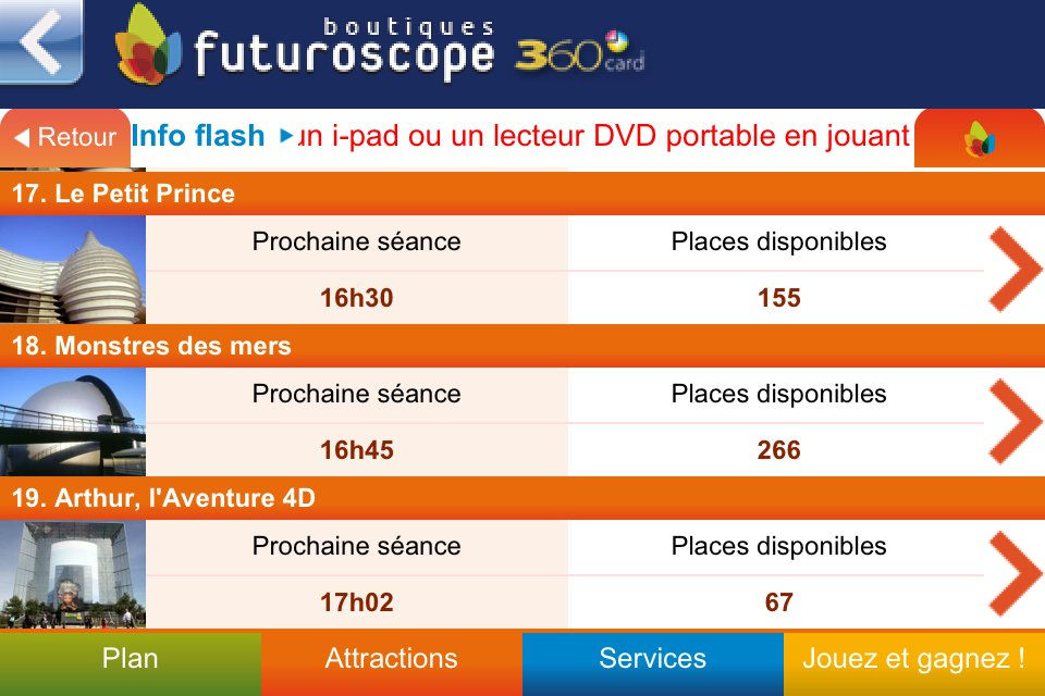Application iPhone Futuroscope 360 - Les informations du site .Mobi