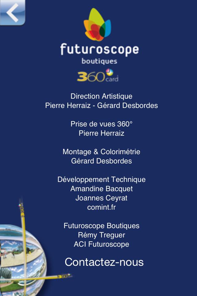 Application iPhone Futuroscope 360 - Crédits