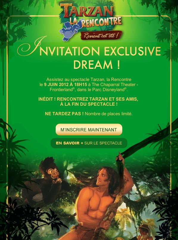 Invitation Tarzan La Rencontre - Passeports Annuel Dream