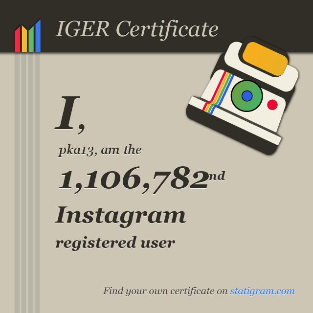 Iger Certificate - Je suis l'inscrit numéro