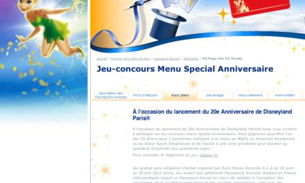 Concours Passeports Annuels Disneyland Paris : A gagner 20 dîners pour 2 personnes composé d'un menu au Walt's ou au Silver Spurs Steakhouse comprenant l'accès à une zone privatisée pour assister au spectacle Dreams®!