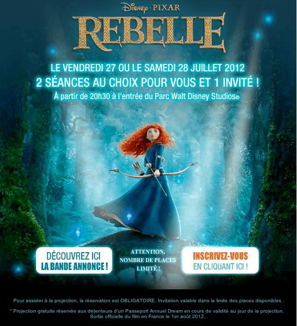 Mail Disneyland Paris Passeports Annuels Rebelle