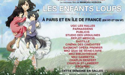 Les Enfants Loups totalise après 5 semaines d'exploitation plus de 100 000 entrées en France. Il est toujours programmé dans plus de 110 salles.