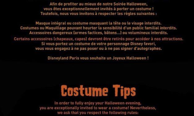 Disneyland Paris publie ses recommandations pour le port de costume lors de la soirée Halloween.