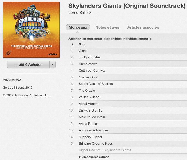 iTunes Skylanders Giants