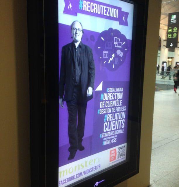 Découvrez comment mon profil s'est retrouvé sur 385 écrans des gares et métros parisiens, durant une matinée et une soirée, avec l'opération #RecrutezMoi