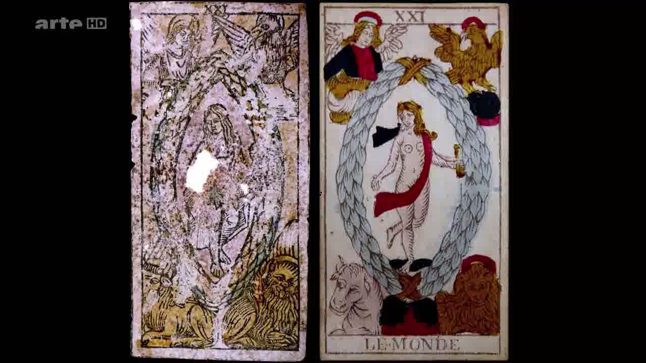 Photo Carte du Monde ancienne retrouvée dans le puits au Château de Sforza et l'actuelle carte du Monde