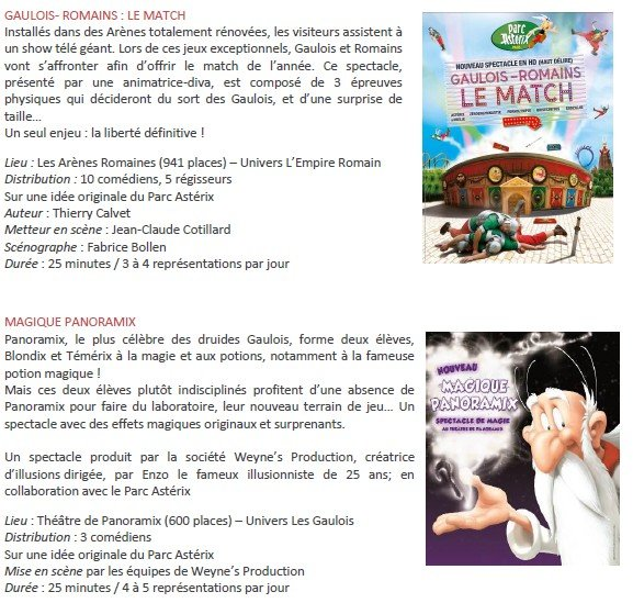 Parc Asterix Le Match et Magique Panoramix