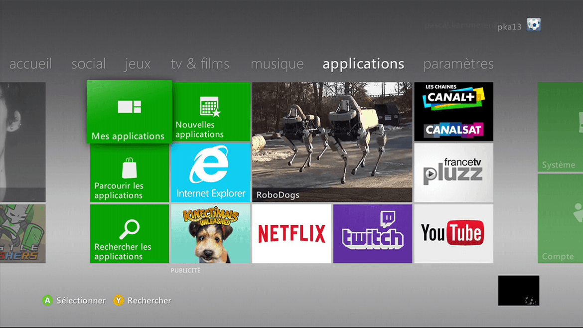 Xbox 360 : Direction les applications