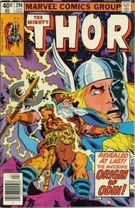 Odin features on the cover of Thor #294 (April 1980). Art by Keith Pollard. Source Wikipédia.