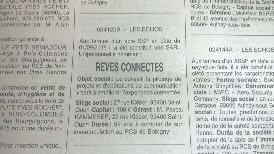 Annonce légale Rêves Connectés SARL dans Les Echos.
