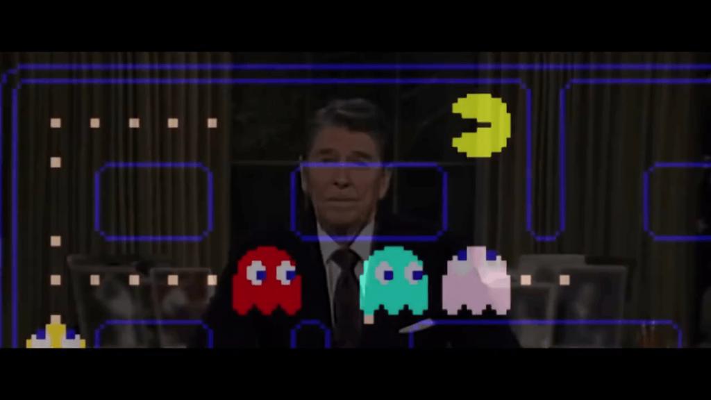 Pixels Movie - Pacman et Ronald Reagan.