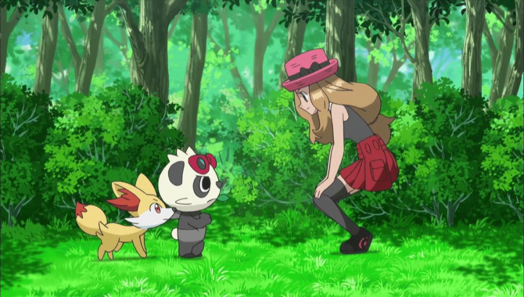 Serena, Feunnec, et Pandespiègle dans Pokemon XY