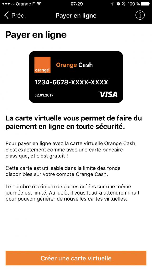 Génération d'une carte bancaire temporaire avec Orange Cash