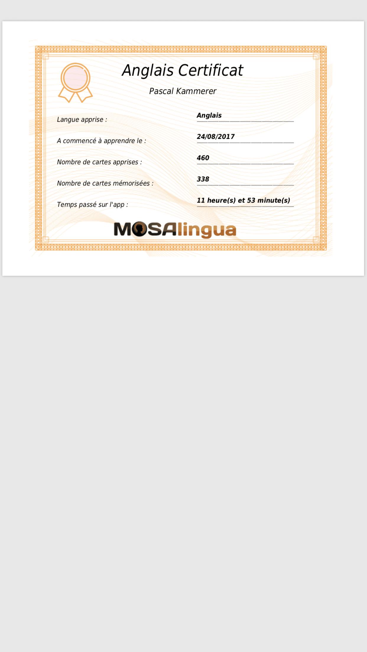 Mosalingua certificat