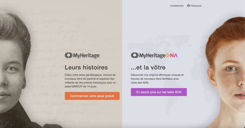 Page d'accueil MyHeritage / MyHeritage DNA