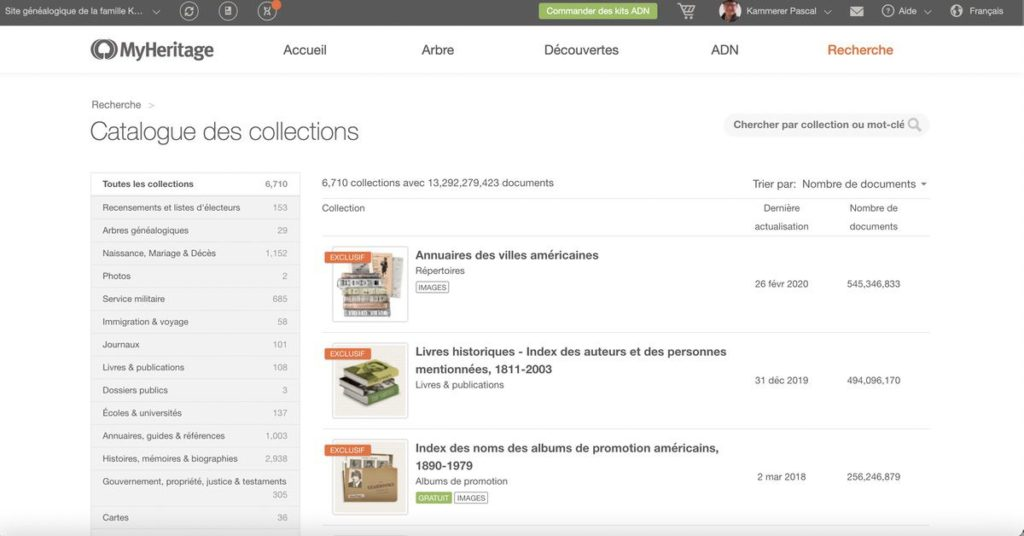 Catalogue des collections disponibles sur MyHeritage